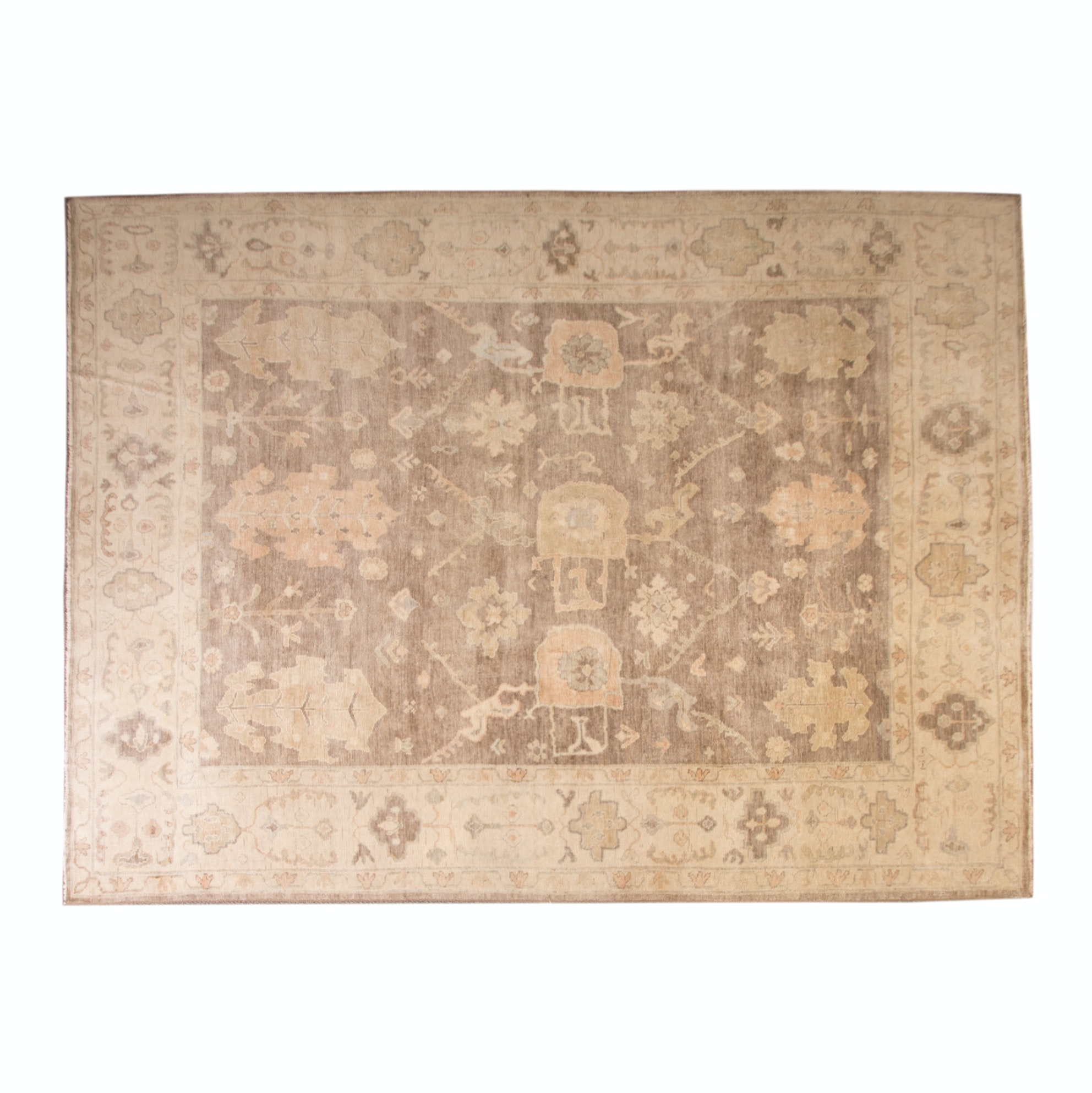 Hand Knotted Turkish Oushak Wool Area Rug