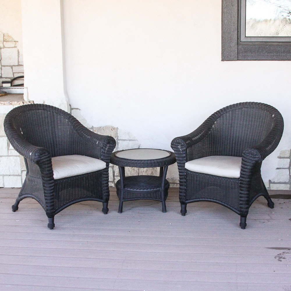 Restoration Hardware Wicker Armchairs and Table