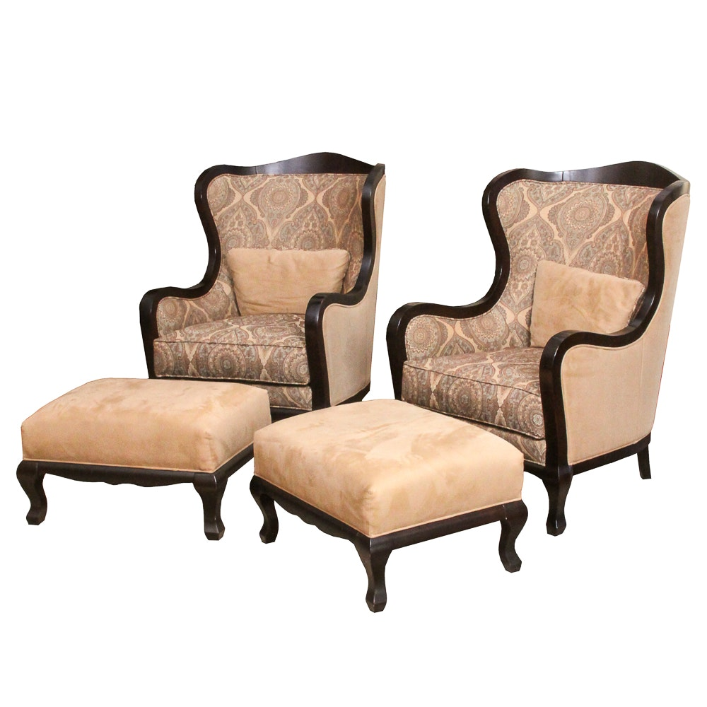 "Contemporary ""Camden Collection"" Wingback Armchairs and Ottomans by Arhaus"