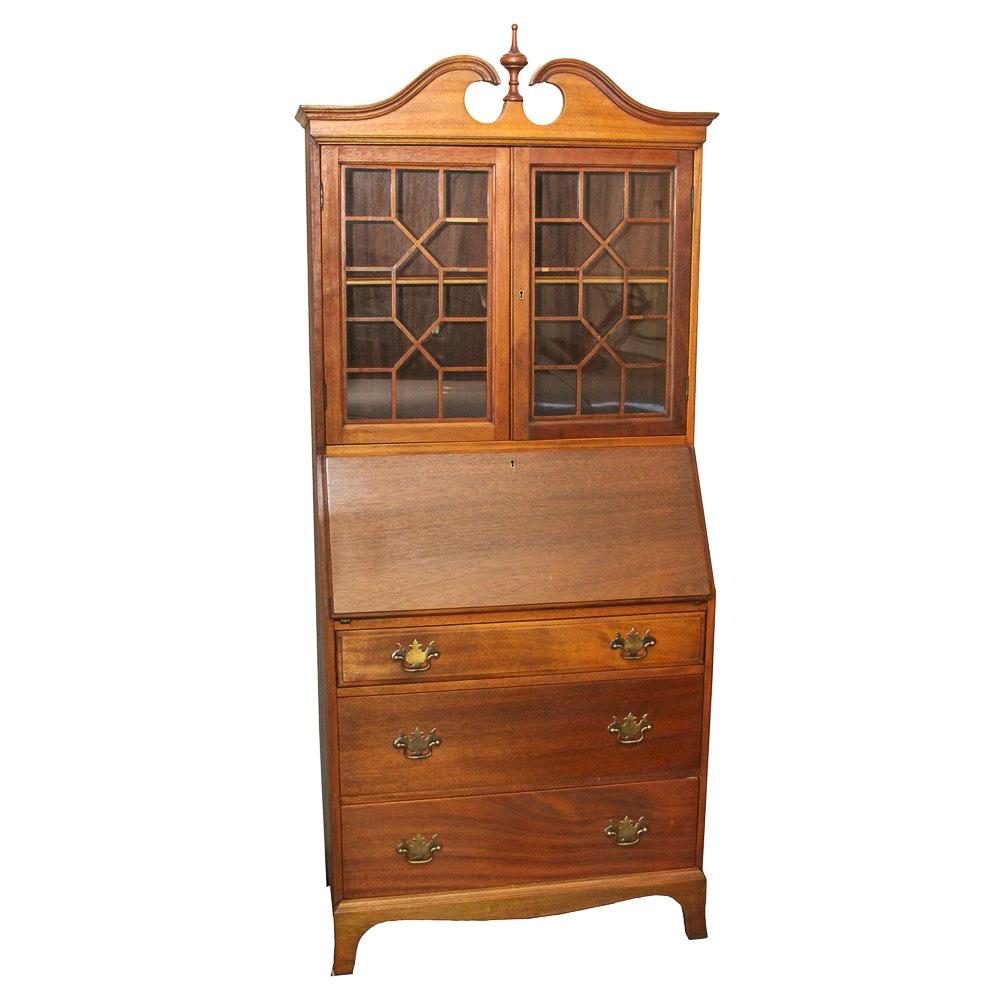 Vintage Chippendale Style Mahogany Secretary Bookcase