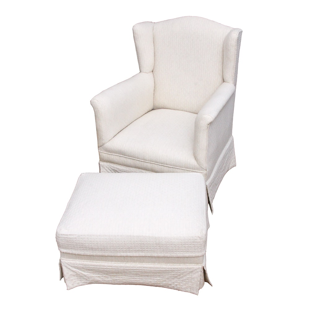 Upholstered Wingback Lounge Chair with Ottoman