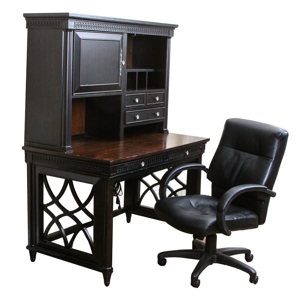 Black Computer Desk by Aspenhome with Executive Office Chair
