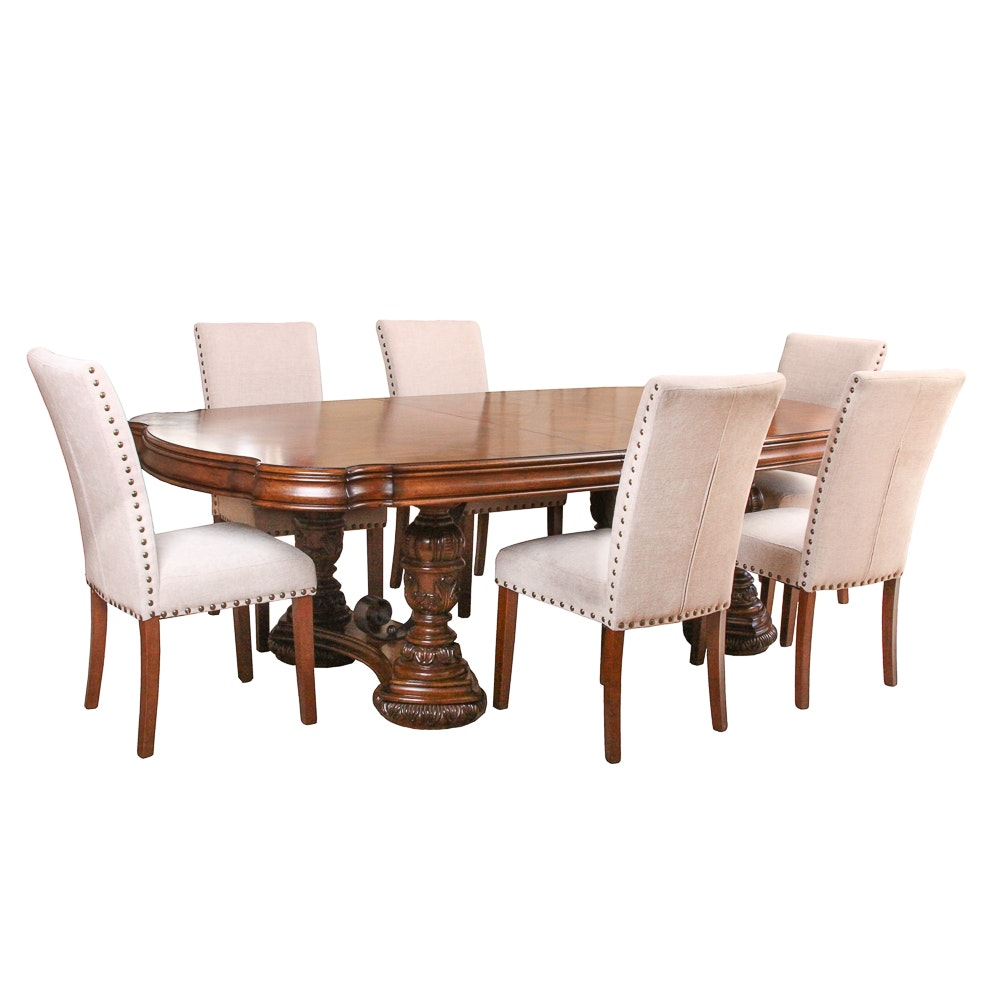 Neoclassical Style Dining Table with Side Chairs by Pulaski Furniture