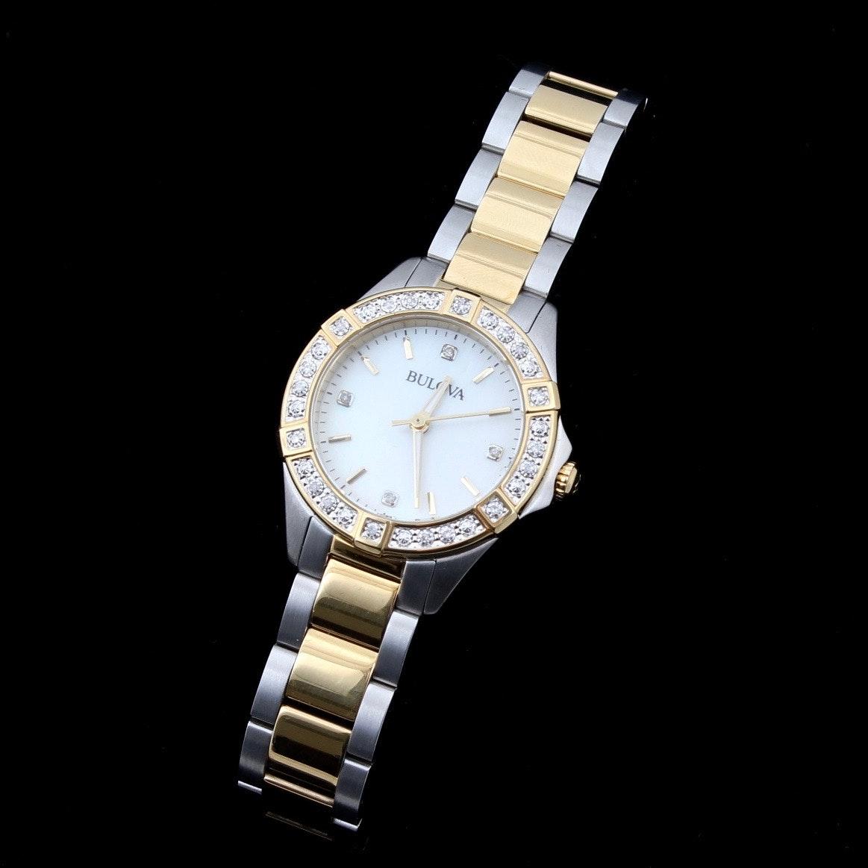 Bulova Two Tone Stainless Steel and Diamond Watch