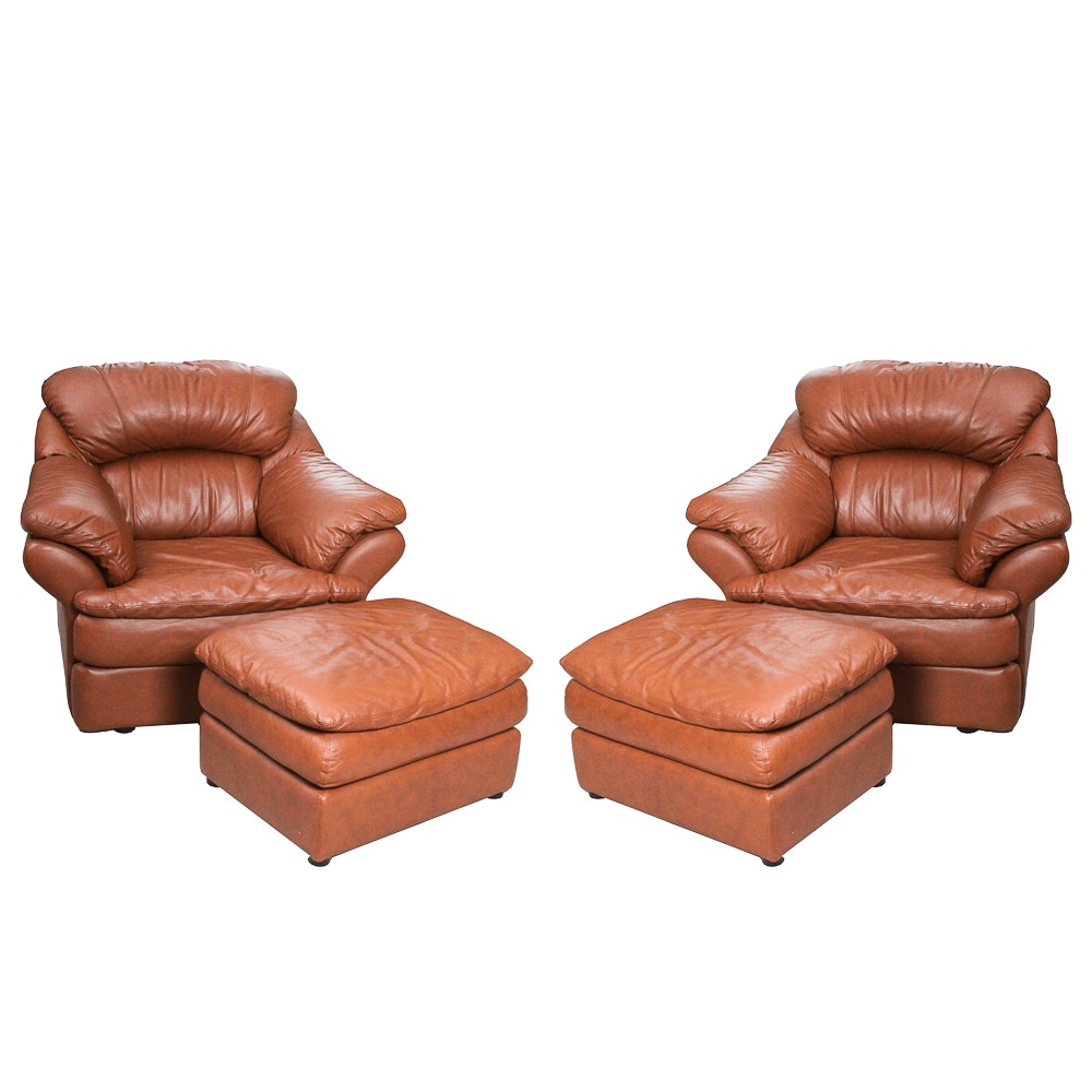 Pair of Overstuffed Lounge Chairs with Ottomans by Coja Leatherline of Canada