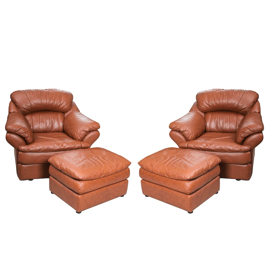 Pair Of Overstuffed Lounge Chairs With Ottomans By Coja Leatherline