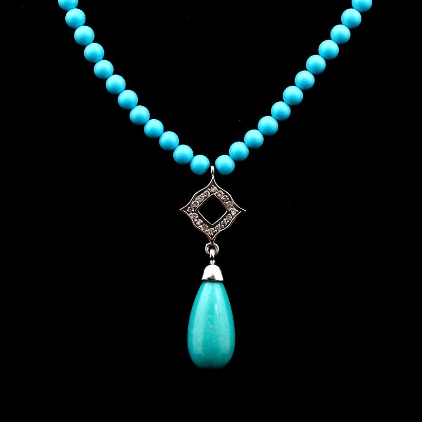 14K White Gold Dyed Turquoise and Diamond Necklace