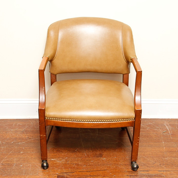 Vintage Leather Rolling Office Chair