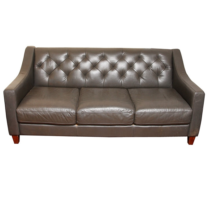 Button-Tufted Leather Sofa