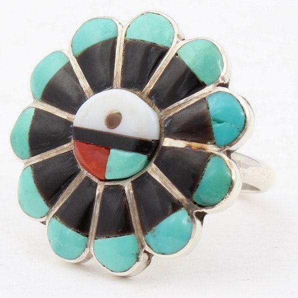 Southwestern Style Sterling Silver and Gemstone Sunface Ring