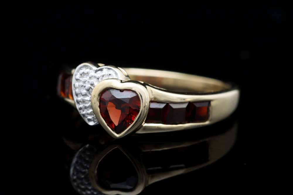 10K Yellow Gold, Garnet and Diamond Ring
