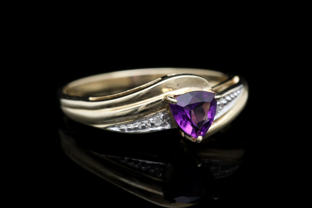 10K Yellow Gold, Amethyst and Diamond Ring