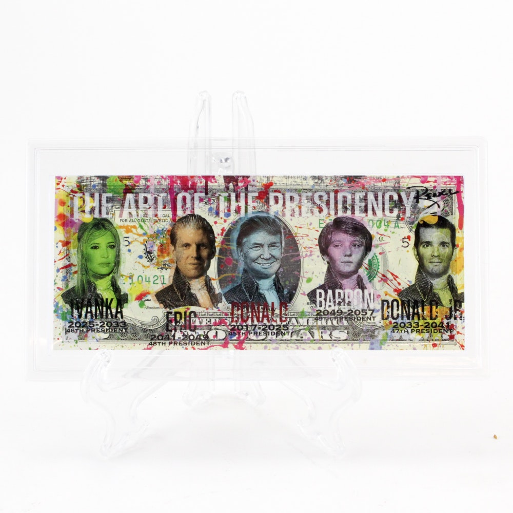"""Rency Embellished Two-Dollar Bill """"The Art of the Presidency"""""""