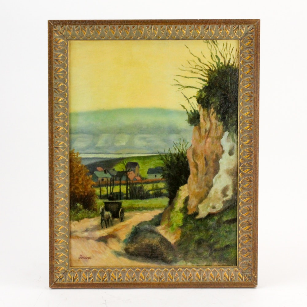 Oil on Canvas Painting of Landscape Scene