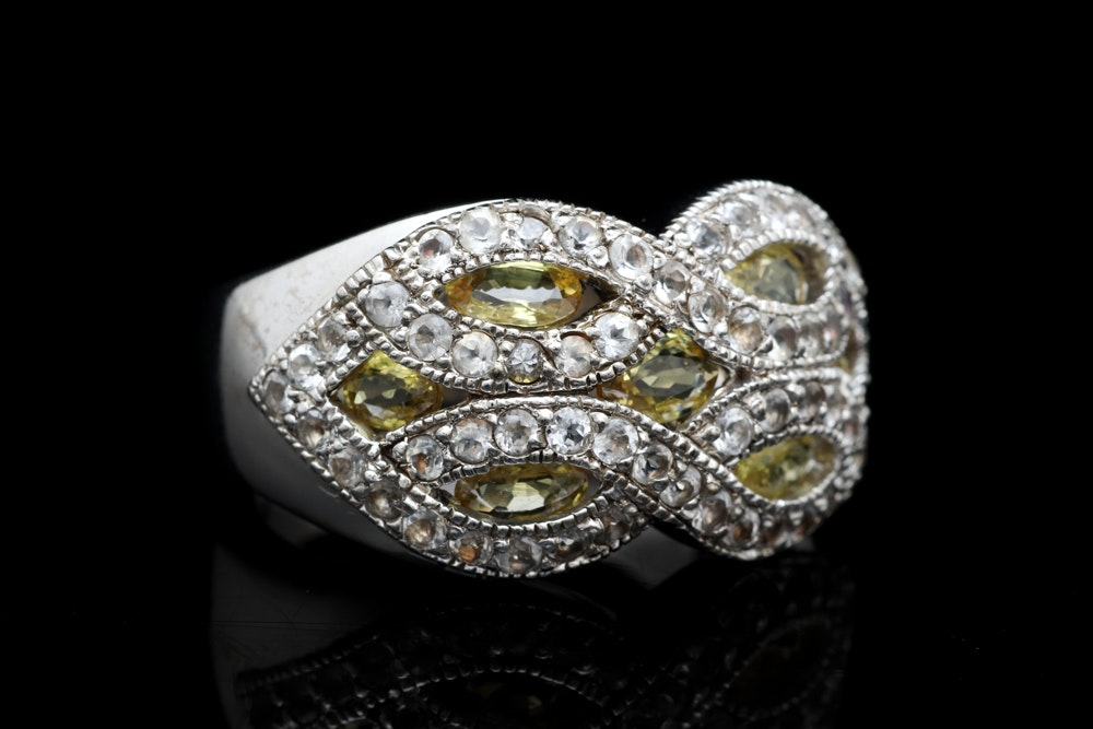 Sterling Silver, Diffused Yellow and White Sapphire Ring