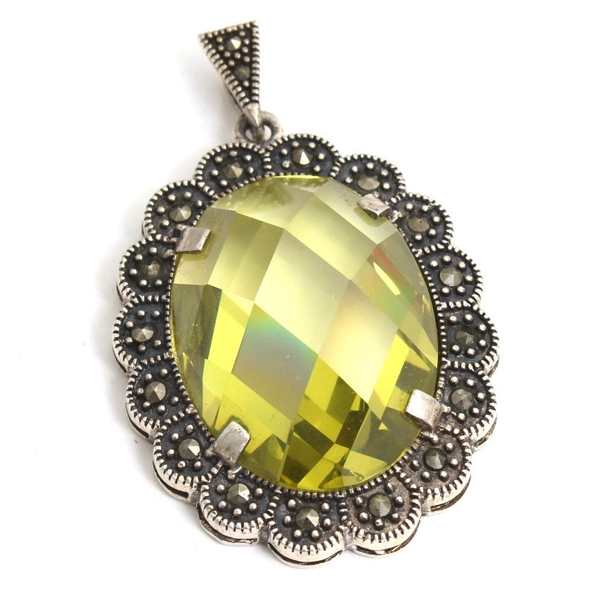 Sterling Silver Faux Peridot and Marcasite Pendant