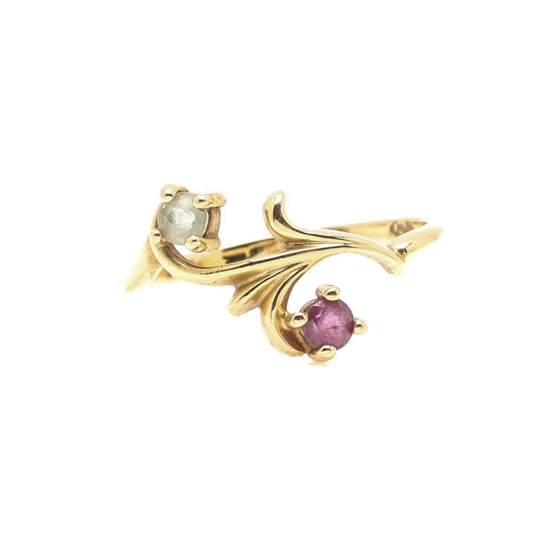 14K Yellow Gold Ruby and Aquamarine Ring
