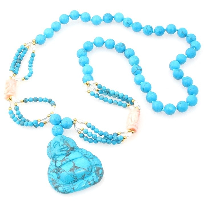 Dyed Turquoise and Cultured Pearl Buddha Necklace