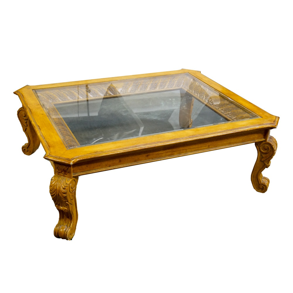 Carved Glass Topped Coffee Table