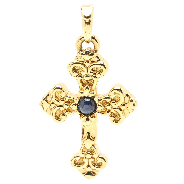 14K Yellow Gold Sapphire Scrolled Cross Pendant