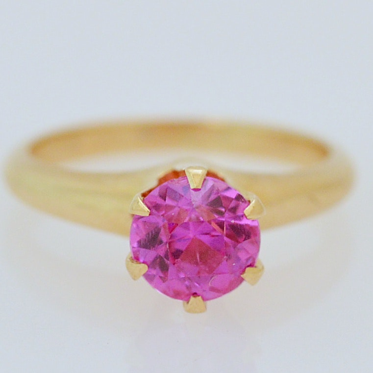14K Yellow Gold and Synthetic Pink Sapphire Ring