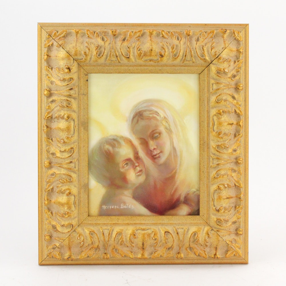 Herrera Bates Oil Painting of Madonna and Child