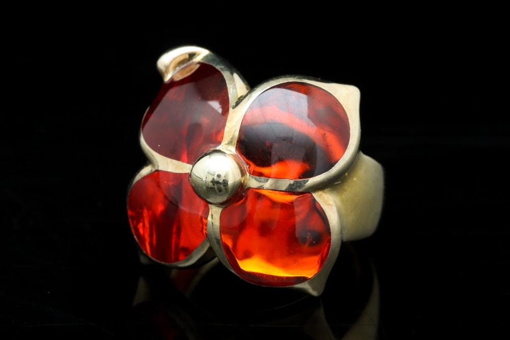 Andrew Hamilton Crawford Gold Plated Sterling Silver and Red Resin Flower Ring