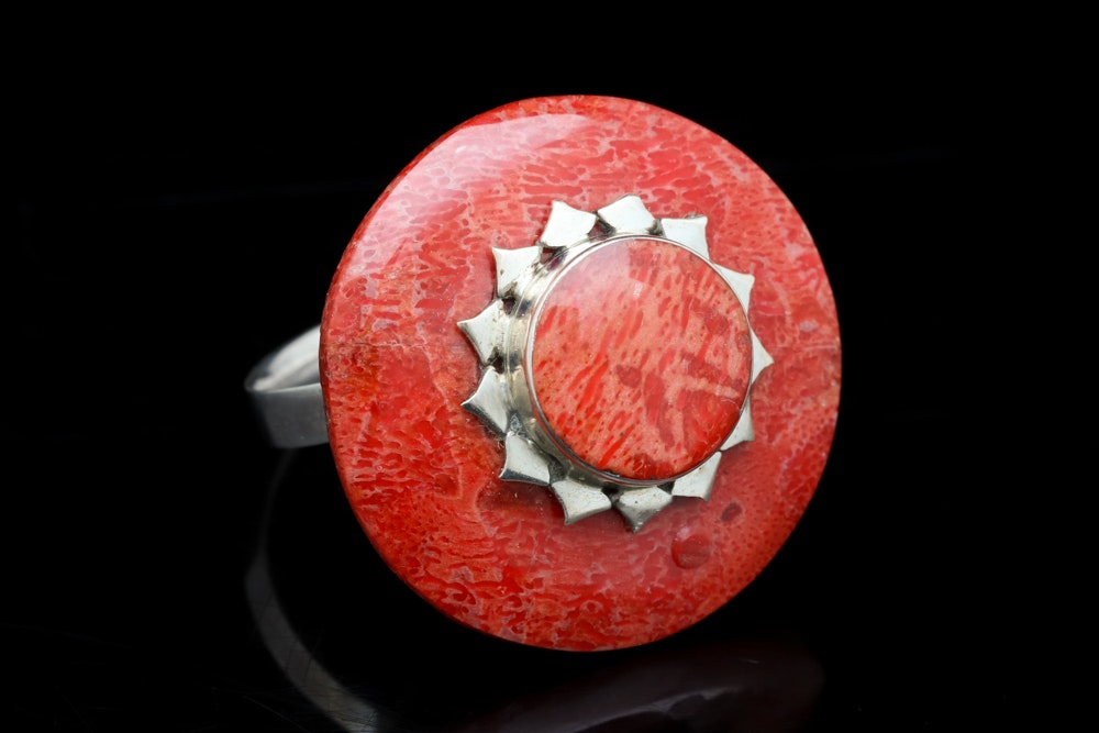 Sterling Silver and Red Coral Ring