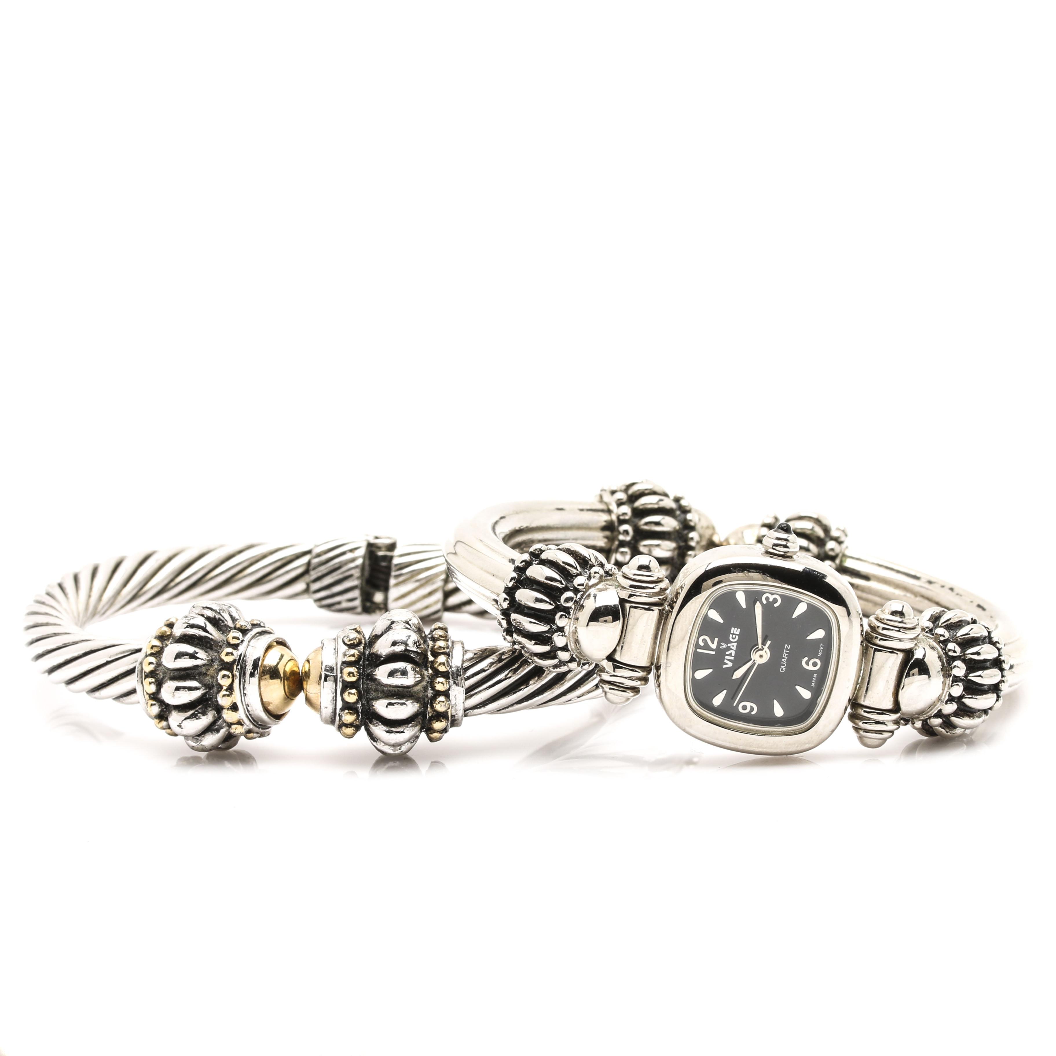 Visage Fashion Wristwatch with Stacking Bangle Bracelet