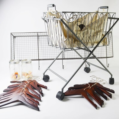 Wire Hook Shelf, Laundry Cart, Wood Hangers