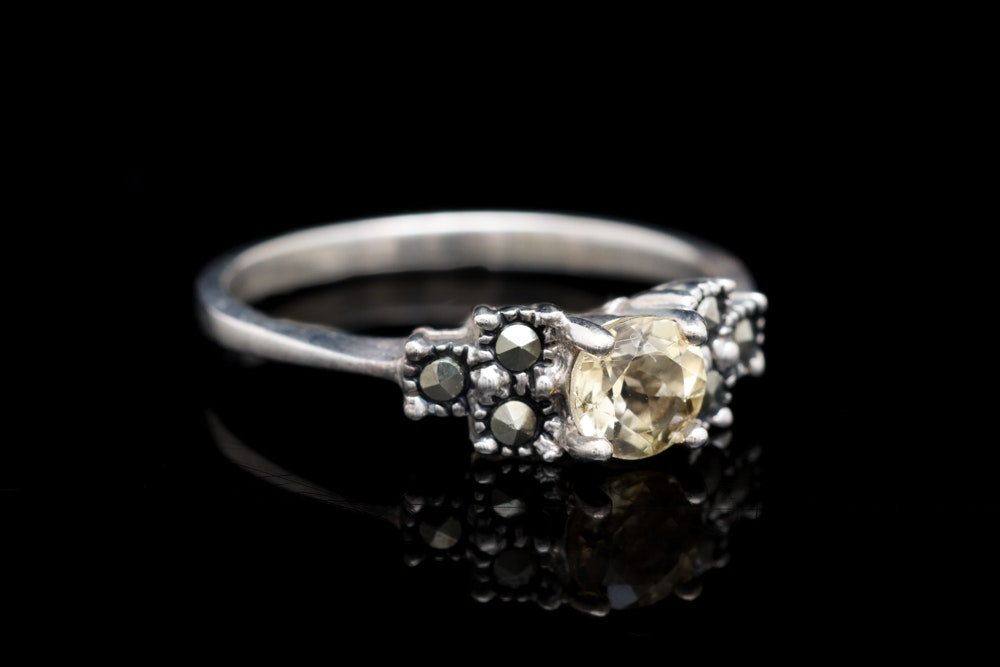 Sterling Silver, Citrine and Marcasite Ring
