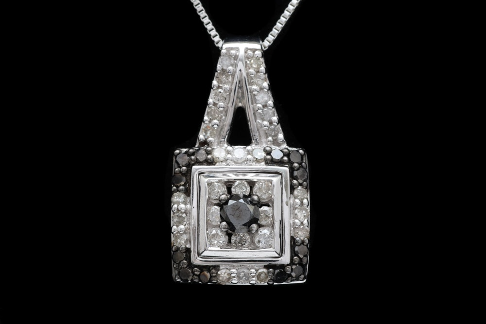 Sterling Silver, White and Black Diamond Pendant with Chain