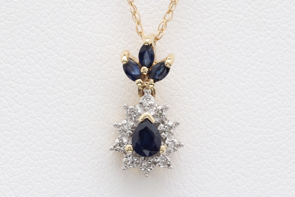 10K Two-Tone Gold , Blue Sapphire and Diamond Pendant with Chain