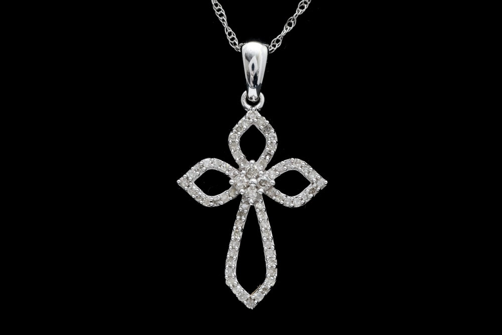 10K White Gold and Diamond Cross Pendant with Chain