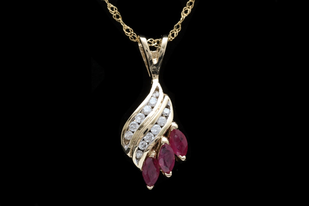 14K Yellow Gold, Ruby and Diamond Pendant with Chain