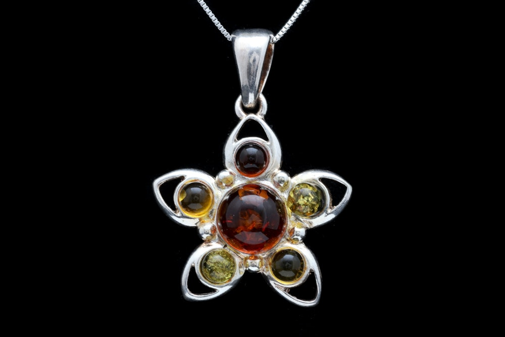 Sterling Silver and Amber Pendant with Chain