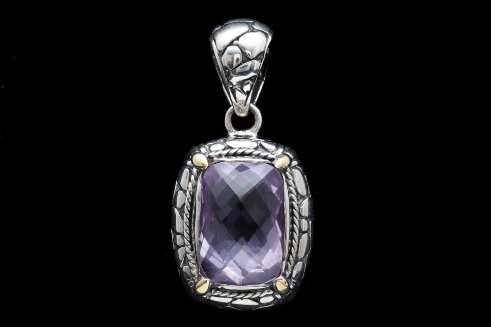 Sterling Silver, 18K Yellow Gold and Amethyst Pendant