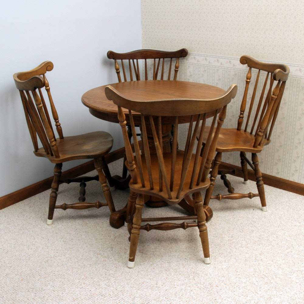 Vintage Oak Pedestal Dining Table with Windsor Style Chairs