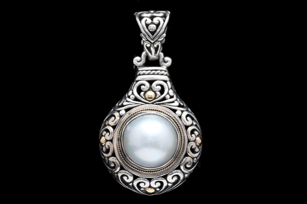 Robert Manse Sterling Silver, 18K Yellow Gold and Mabé Pearl Pendant