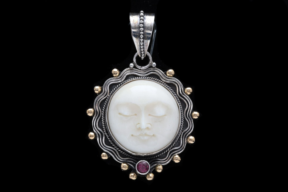 Sterling Silver, 18K Yellow Gold and Rhodolite Bone Face Pendant