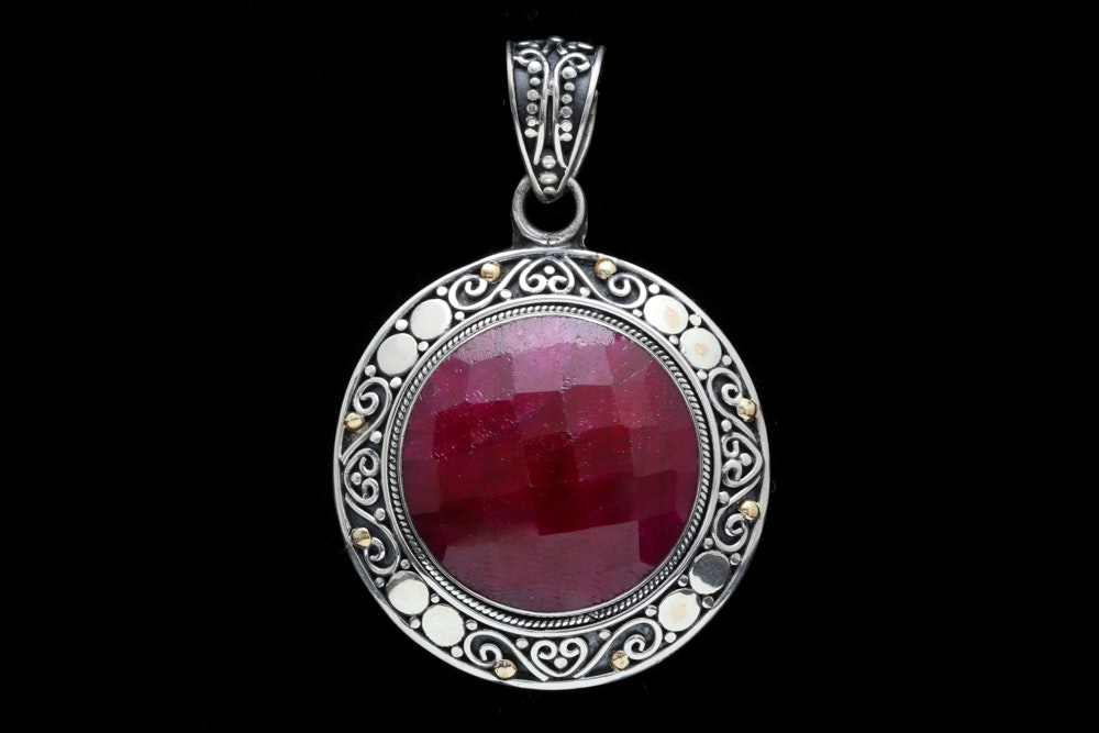 Sterling Silver, 18K Yellow Gold and Dyed Red Corundum Pednant