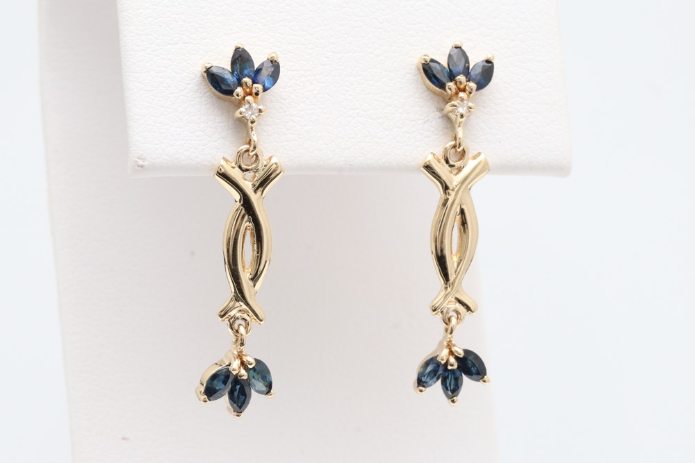 14K Yellow Gold, 1.10 CTW Blue Sapphire and Diamond Earrings