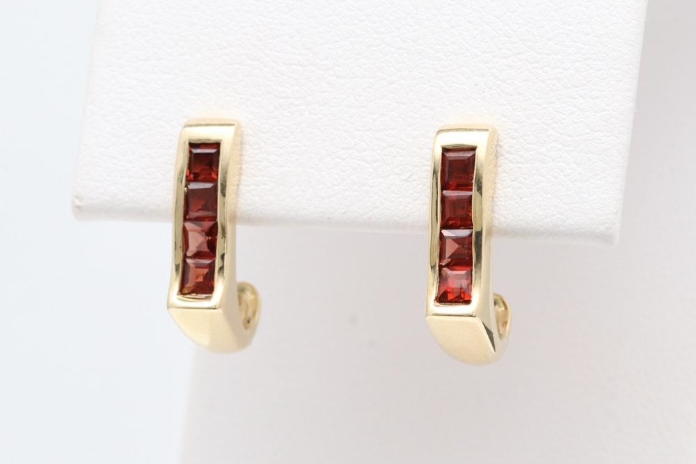10K Yellow Gold and Garnet C-Hoop Earrings