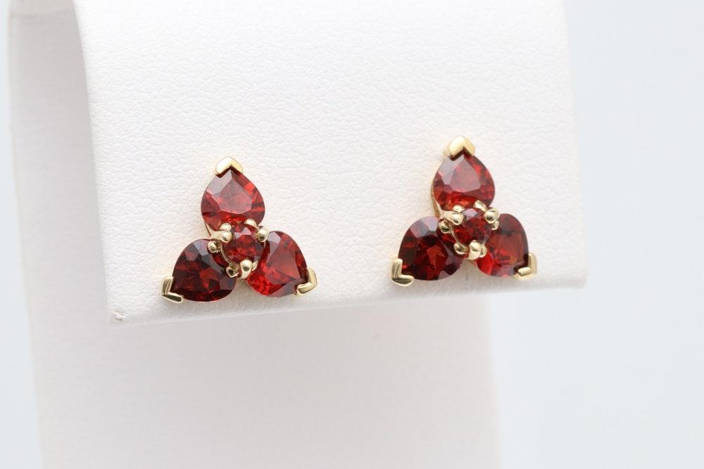 10K Yellow Gold and Garnet Earrings