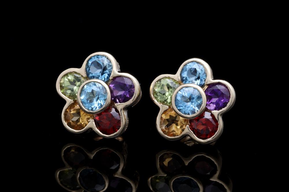 10K Yellow Gold and Multi-Gemstone Flower Earrings
