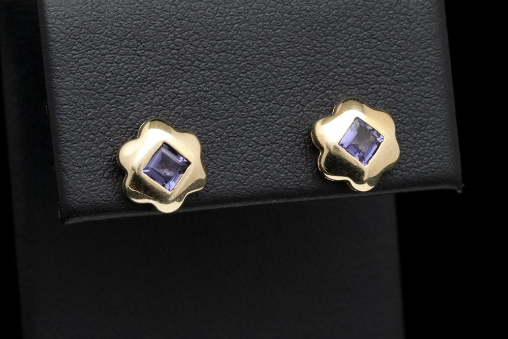10K Yellow Gold and Iolite Earrings