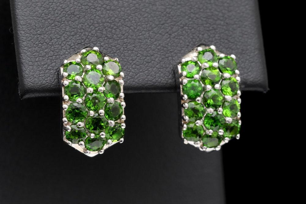 Sterling Silver and Green Garnet Earrings