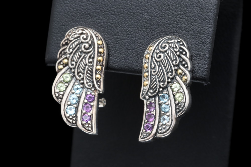 Robert Manse Sterling Silver, 18K Yellow Gold and Multi-Gemstone Wing Earrings