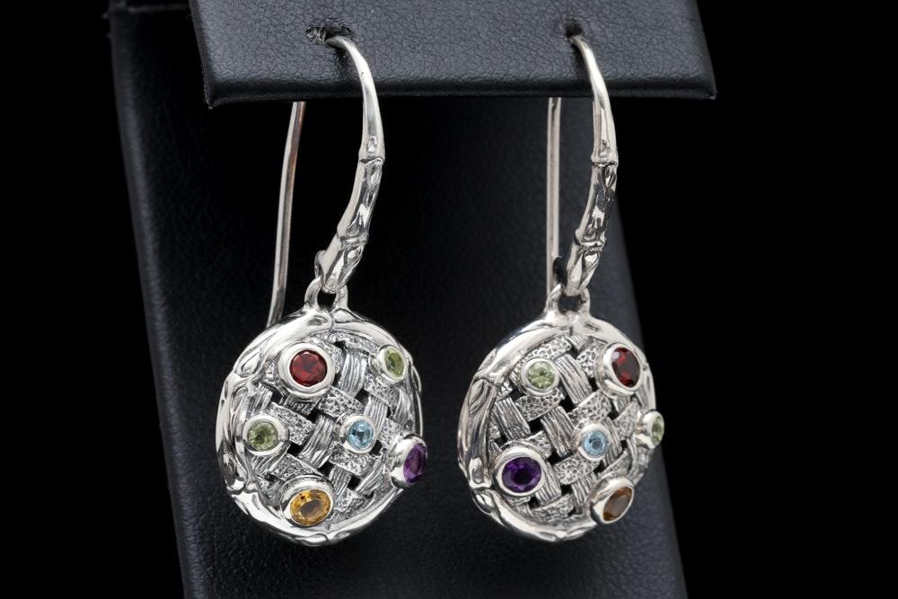 Sterling Silver and Multi-Gemstone Earrings