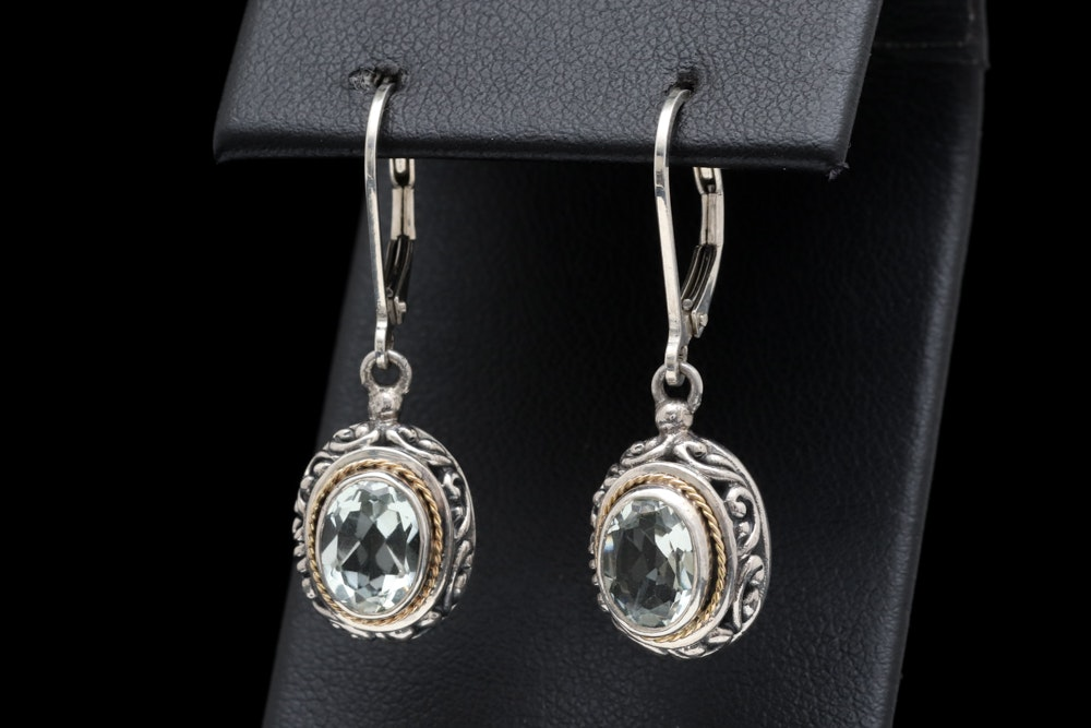 Sterling Silver, 18K Yellow Gold and Praseolite Earrings